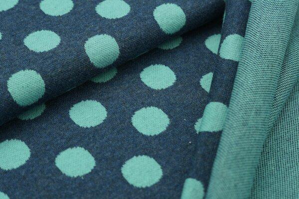 Jacquard-Sweat Mia große eisblaue Punkte auf navy blau Melange