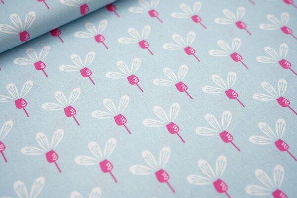 Baumwolle mit Blumen-Muster hellblau / weiß / pink