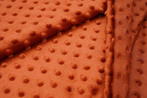 Minky Bubble Fleece Noppen Punkte uni rostrot terrakotta