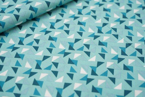 Baumwollstoff Dreiecke auf mint