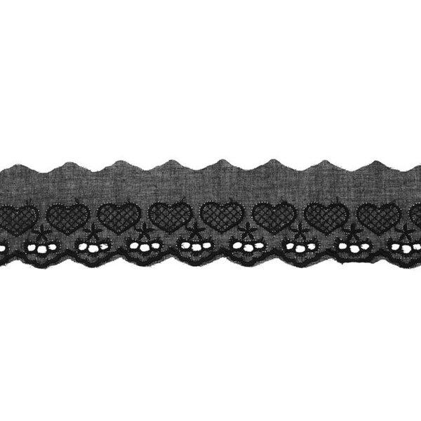 Baumwoll Spitze mit Herzen und Sternen schwarz Spitzenbordüre Borte