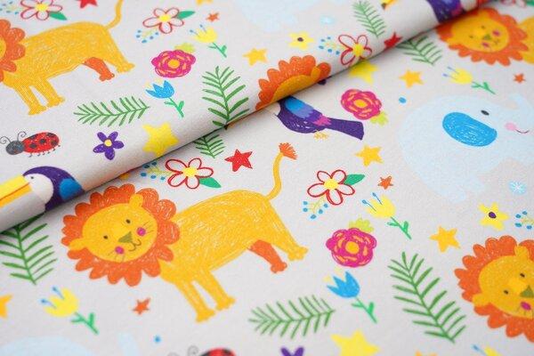 Digitaldruck Baumwoll-Jersey Tiere und Blumen auf hellgrau Löwe Tukan Marienkäfer Elefant