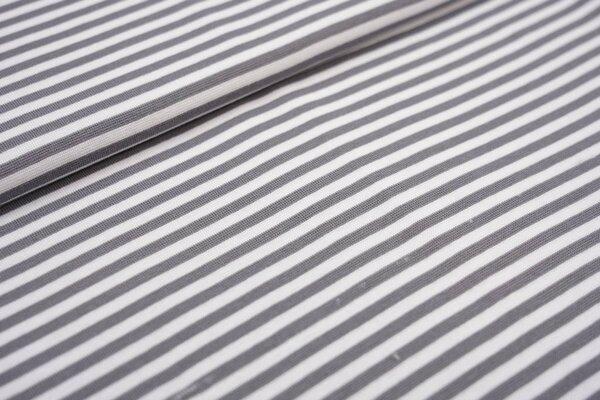 Glattes Ringelbündchen Streifen grau / weiß 5 mm