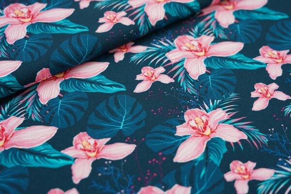Traumbeere Baumwoll-Jersey mit Digitaldruck Orchideen Blumen Pflanzen dunkel petrol / rosa