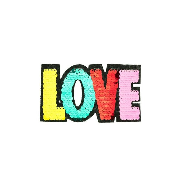 Applikation LOVE Schriftzug bunt Aufnäher mit Wendepailletten