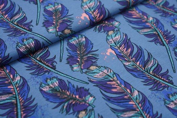 Baumwoll-Jersey große Federn auf taupe blau