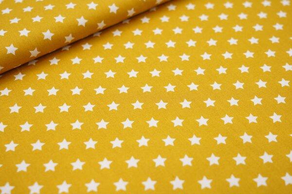 Baumwollstoff Baumwolle kleine Sterne senf ocker / weiß