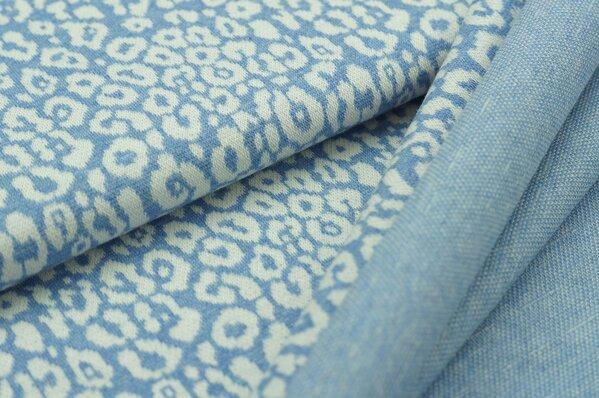 Jacquard-Sweat Mia off white Leoparden Muster auf pastell jeansblau Melange