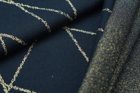 Jacquard-Sweat Ben gold Lurex Glitzer Streifen auf navy blau