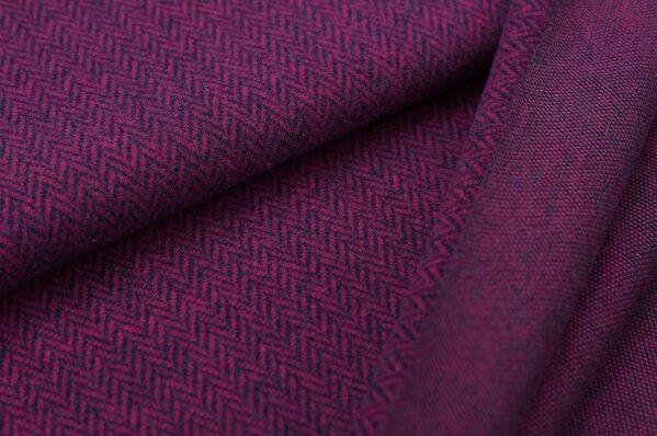 Kuschel Jacquard-Sweat Max Fischgrätenmuster amarant pink / navy blau