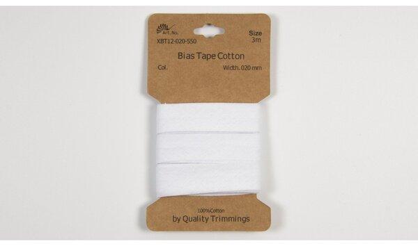 3 m Schrägband Baumwolle uni weiß 20 mm breit