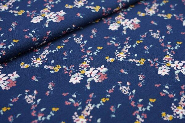 Baumwoll-Sweat mit kleinen Blumenzweigen auf dunkelblau