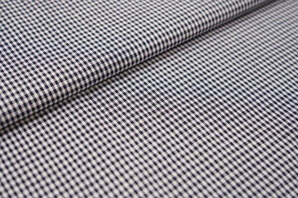 Baumwollstoff Baumwolle vichykaro Karomuster sehr klein kariert weiß / navy dunkelblau
