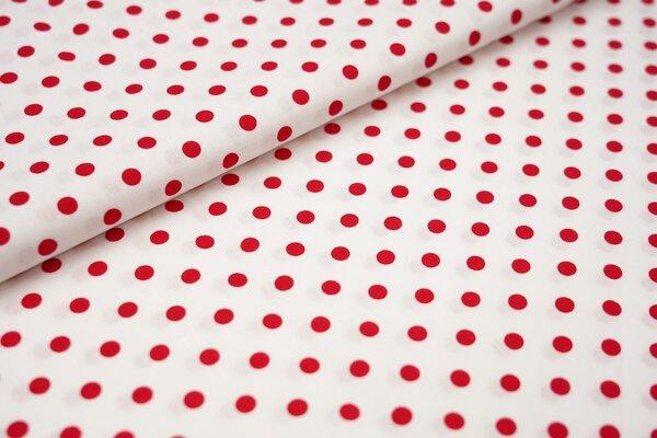 Baumwollstoff Baumwolle große Punkte weiß / rot