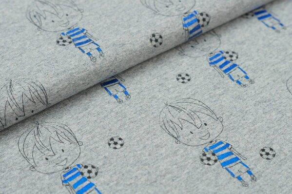 Jersey Junge mit Fußball Fußbälle auf grau meliert mit blauem Glitzer