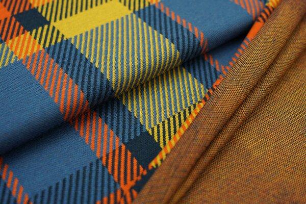 Jacquard-Sweat Ben XXL Karos taupe blau / dunkelblau / senf / orange