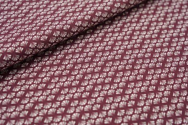 Baumwolle Retro Blumenfächer auf bordeaux rot / grau / hellrosa