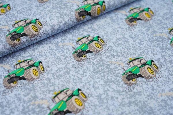 Baumwolle mit Traktoren auf grau hellblau gemustert