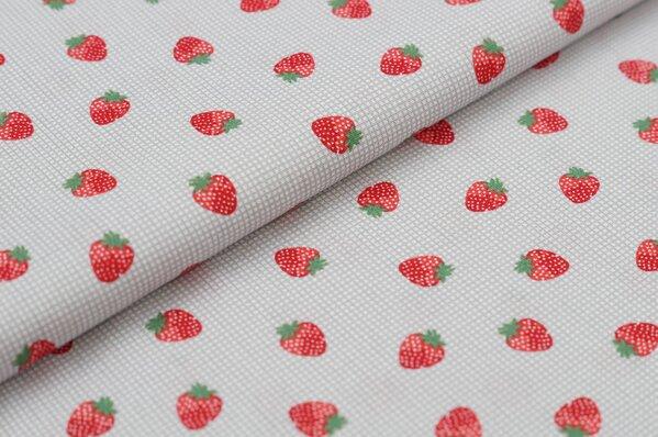 Baumwollstoff Erdbeeren auf kleinem Karo-Muster grau / weiß Baumwolle