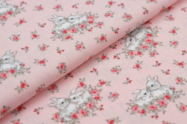 Baumwollstoff Baumwolle mit Hasen Kaninchen und Blumen rosa / grau / weiß