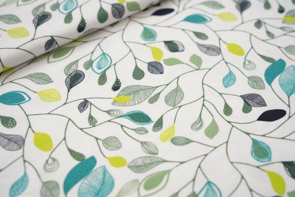 Baumwoll-Jersey Retro Blätter-Muster weiß limette armee grün türkis dunkelblau