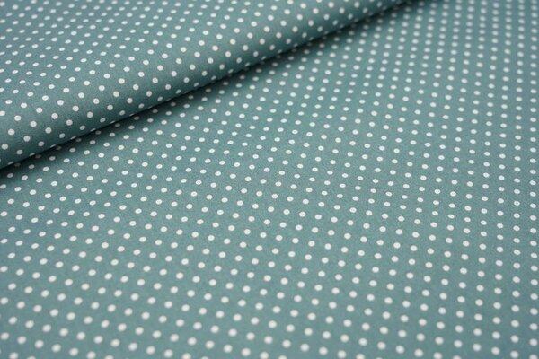 Baumwollstoff Baumwolle kleine Punkte dunkel altgrün / weiß