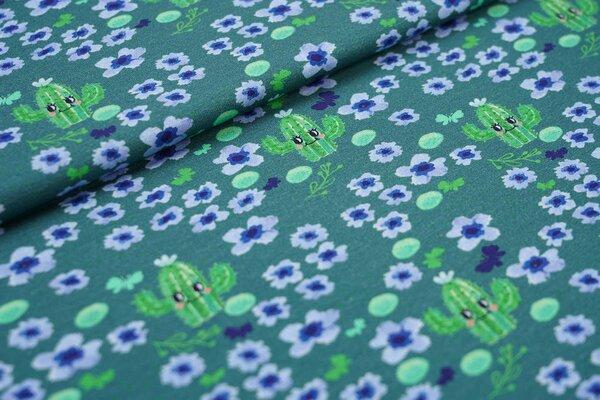Baumwoll-Jersey Kaktus - lächelnde Kakteen und blaue Blumen auf dunkel seegrün