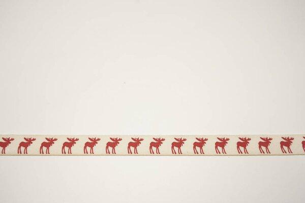 Webband rote Elche Winter Weihnachten auf natur 15 mm Zierband Dekoband