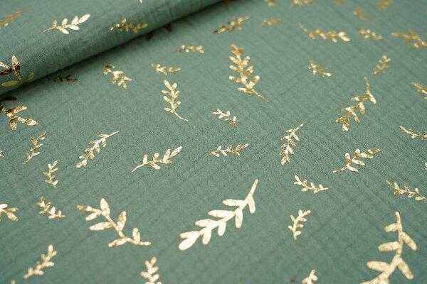 Musselin Stoff Double Gauze altgrün mit goldenen Zweigen