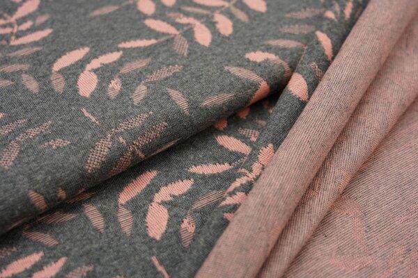 Jacquard-Jersey lachs Blätter Muster auf dunkelgrau