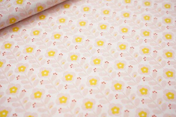 Baumwoll-Stoff mit Blumen weiß / hellrosa / gelb / koralle