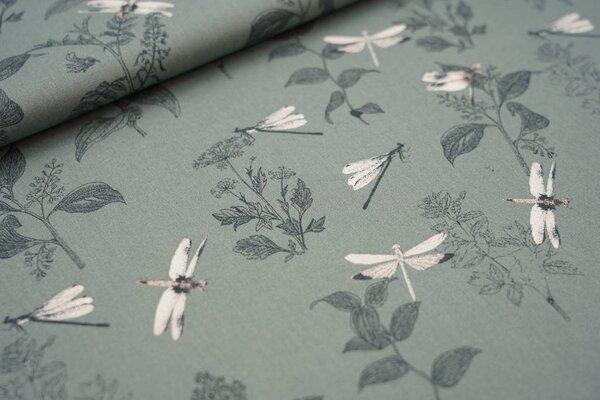 Baumwolle mit Libellen und Zweigen auf altgrün