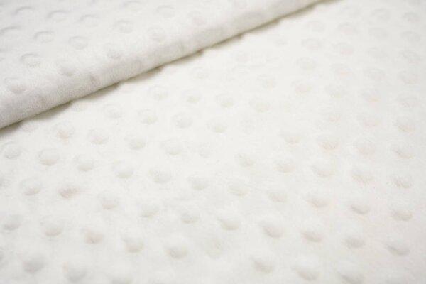 Minky Bubble Fleece-Stoff mit Noppen Punkte uni creme