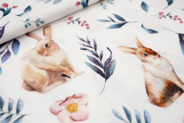 Musselin Stoff Double Gauze Karo Kaninchen Hasen / Blätter Blumen auf weiß