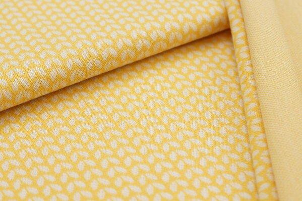 Jacquard-Sweat Ben kleine off white Blätter auf gelb