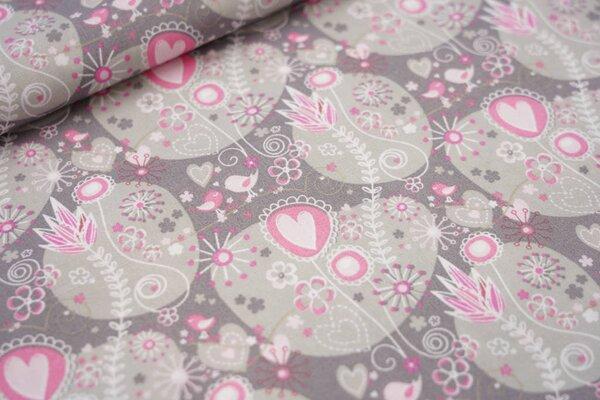 Baumwolle verliebte Vögel mit Blumen und Herzen grau / hell pink / rosa / weiß