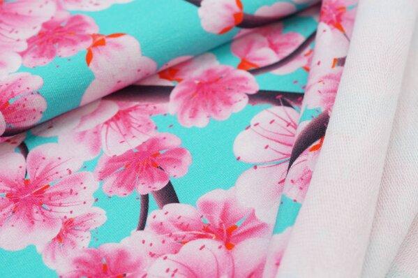 XXL Baumwoll-Sweat mit Digitaldruck Kirschblüten Blumen auf aqua türkis