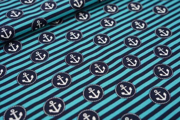 Baumwoll-Jersey maritime Anker auf Streifen petrol / dunkelblau / weiß