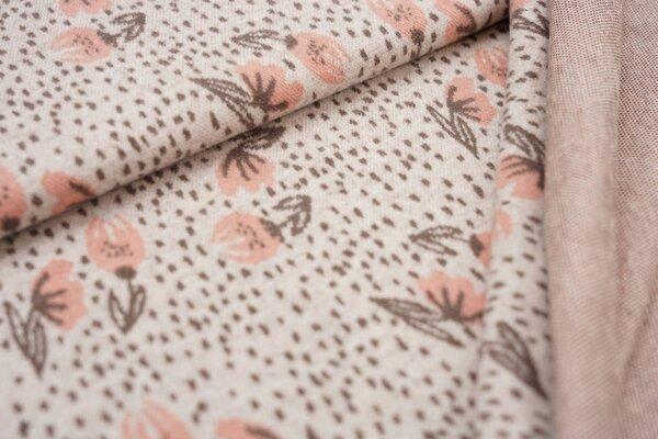 Jacquard-Jersey kleine Blumen / Punkte off white / taupe braun / lachs