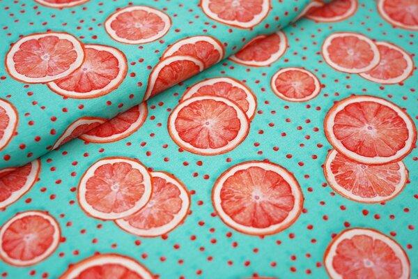 Digitaldruck Baumwoll-Jersey Grapefruitscheiben und Punkte auf türkis