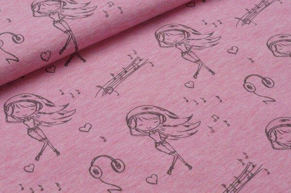 Jersey Popstar Rock n Roll Musiknoten grau auf pastell pink melange