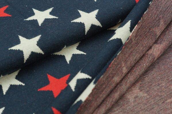 Jacquard-Sweat Ben off white und rote Sterne auf navy blau