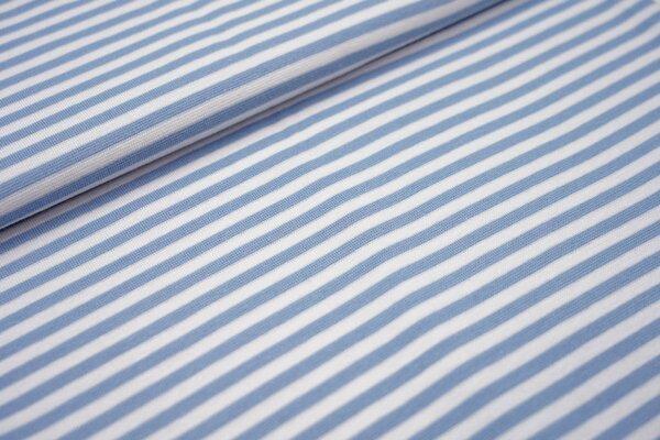 Glattes Ringelbündchen Streifen hellblau / weiß 5 mm