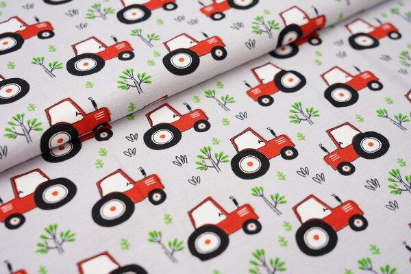Baumwoll-Jersey mit Bauernhof Traktoren und Pflanzen auf hellgrau