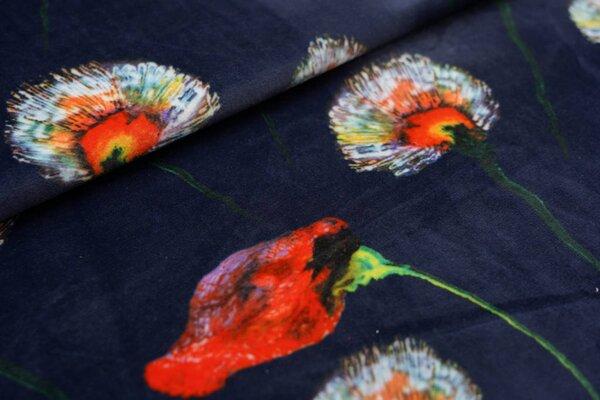 Samtiger Nicki Velour Stoff mit großen Blumen auf dunkelblau