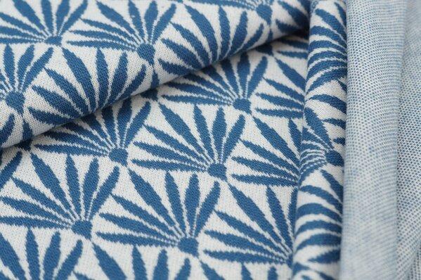 Jacquard-Sweat Ben Blumen-Fächer off white / taupe blau