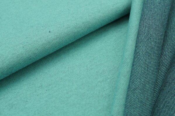 Jacquard-Sweat Mia eisblau Melange Uni mit navy blau und eisblau Rückseite