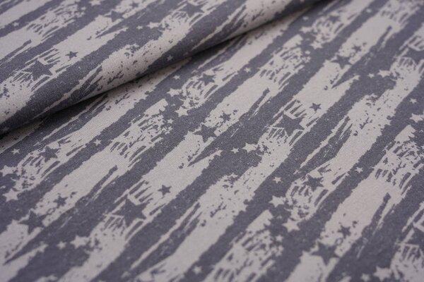 Kuscheliger Baumwoll-Sweat Sterne auf abstrakten Streifen dunkelgrau / hellgrau