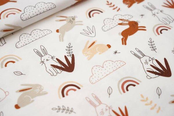 Baumwoll-Jersey Hasen Wolken Regenbogen Blätter auf weiß