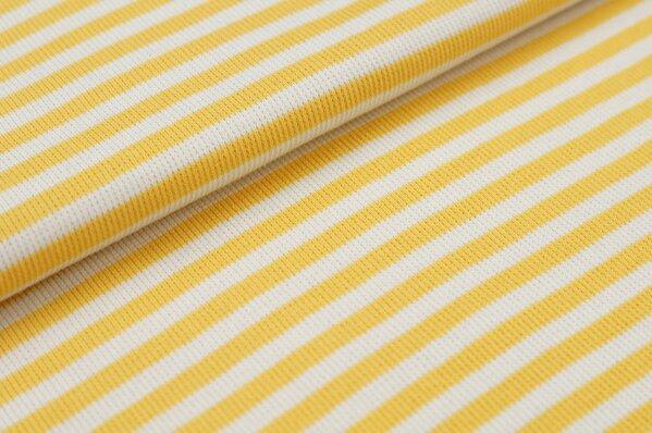 Ringelbündchen Marie gerippt gelb / off white Streifen